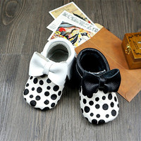 Mixed Colors Leopard Bow Genuine Leather Baby Shoes First Walkers Design For Toddler Baby Moccasins Fashion