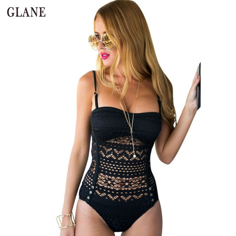 цена на One Piece 2017 Sexy Women Solid Black Swimsuit Padded Monokini Bikini Lace Hollow Swimwear Summer Straps Bathing Suit Beachwear