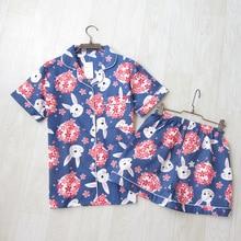 Pijama de manga corta con dibujos de conejo para mujer, ropa de dormir fina de 100% algodón, de doble capa, con estampado, para el hogar