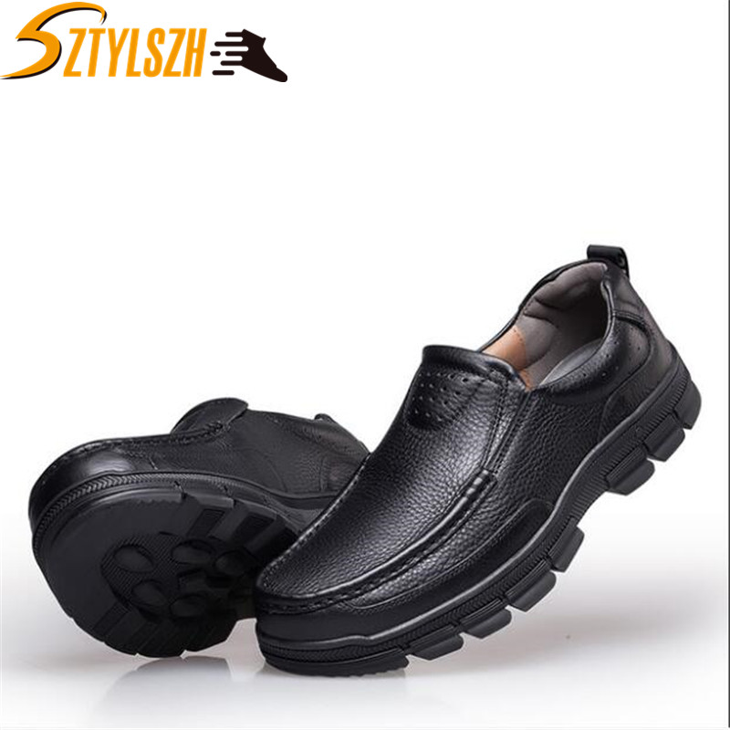 Mens Leather Casual Spring//Fall//Winter Slip On /& Loafers Driving Shoes Business Work For Casual Office /& Career Outdoor Large Size 38-44 Color : Black, Size : 44