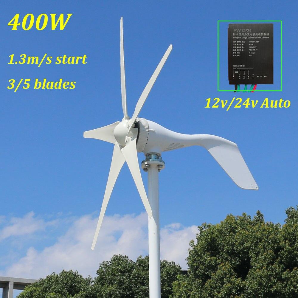 Nouveau 1.3 m démarrage 3 phases AC 12 v 24 v 48 v éolienne avec 12 V 24 V Auto contrôleur usage domestique 400 w éolienne