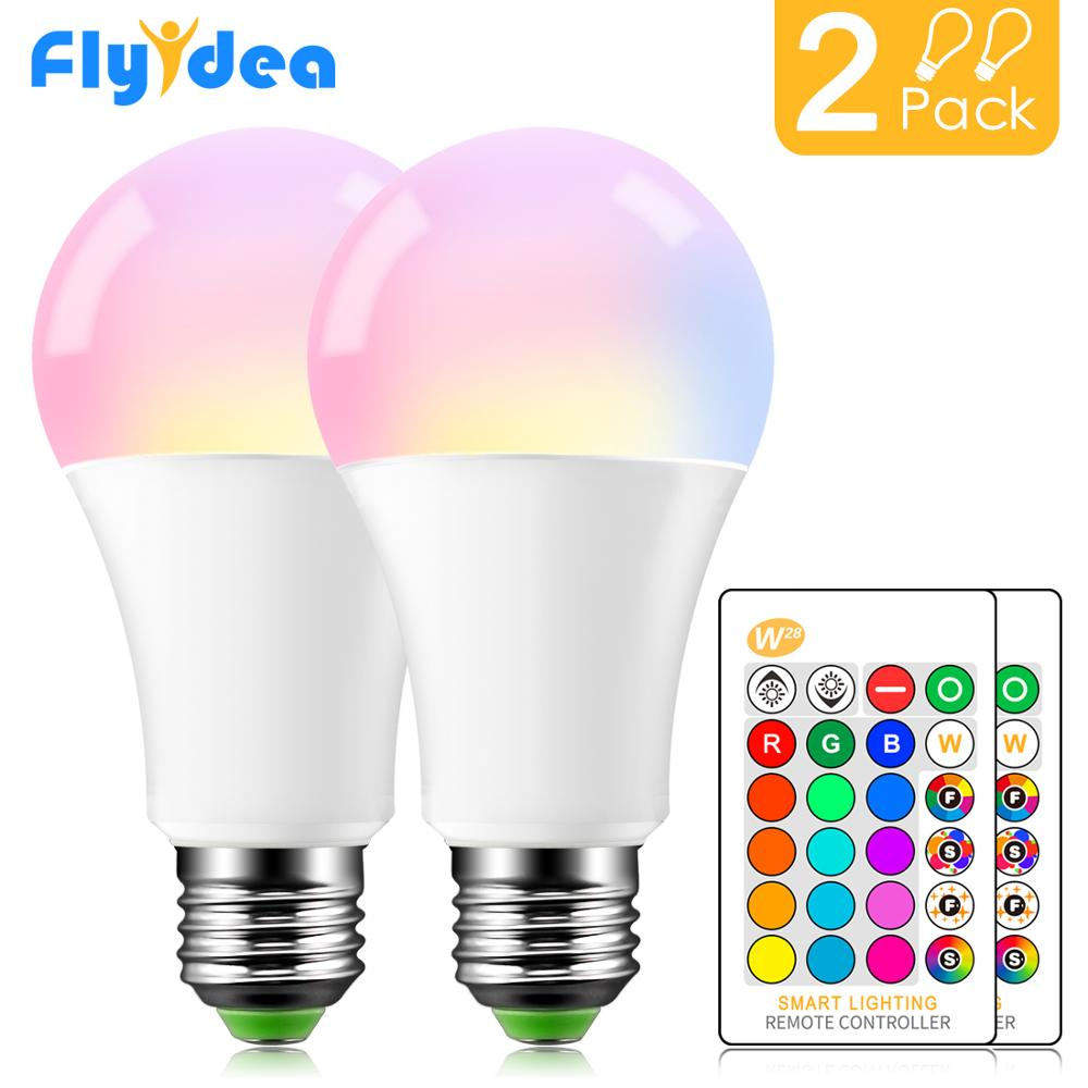 Mudança de Cor LEVOU Lâmpada mágica Controle Remoto IR E27 Dimmable 220 V 110 V Decorativo 15 W RGB + branco Lâmpada de Iluminação Casa Inteligente