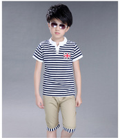 Fashion Cotton Unisex Teenagers Clothes Striped T Shirt Tops Dress Striped Short Pants Kids Summer Outfit