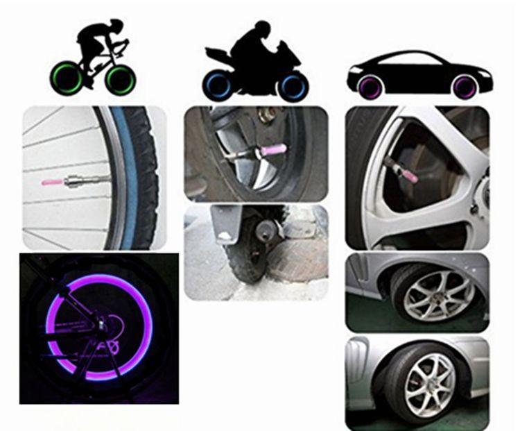Tyre Tire Valve Caps Wheel spokes LED bike bicycle light (1)