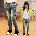 2017 Spring Fall Girls Casual Jeans Kids Harem Denim Pants Children's Wear Baby Kids Cartoon Cat Red Lips Floral Trousers G499
