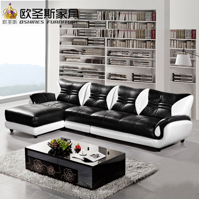 Turkish Sofa Furniture Black And White Modern L Shaped Corner Shiny Leather Sectional  Sofa Set Designs