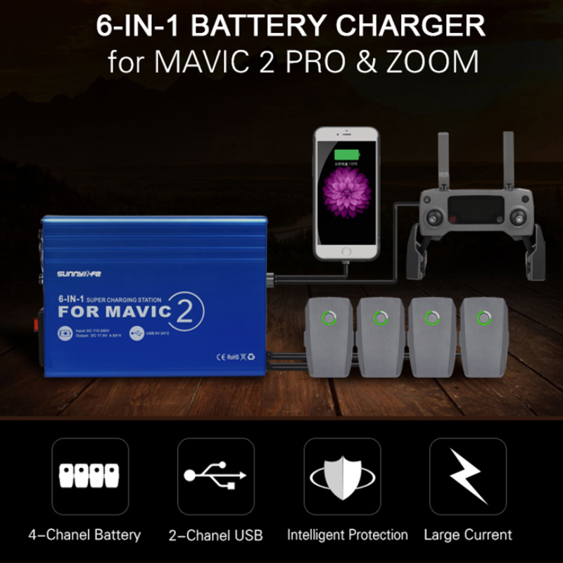 6-in-1 Battery Charger for DJI MAVIC 2 PRO//ZOOM with USB Super Charging Station