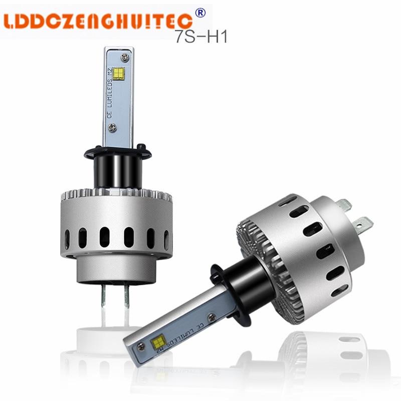 LDDCZENGHUITEC 7S LED Headlights Kit H4 H1 H3 H7 9003 9005 HB3 9006 H8 H9 H11 40W 6000LM 6500K Replace Factory High & Low Beam
