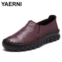 YAERNI High Quality Women Genuine Leather Shoes Slip On Flats Handmade Shoes Loafers Mocassin Flat Women