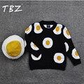2016 Otoño Invierno Suéter Ropa de Bebé Niña Niño Jersey de Algodón Niños Ocasional Bebé Suéter Niños Choses Tortilla de Huevo