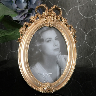 European style Resin Photo Frame Relief Oval Retro Gold Silver Pendulum Classical Frame in Frame from Home Garden