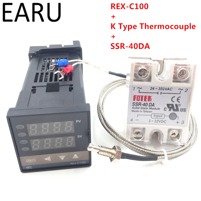 RKC Digital PID TEMPERATUURREGELAAR Thermostaat REX C100 + Max 40A SSR SSR 40DA Relais + K Thermokoppel M6 Probe Hoge Kwaliteit