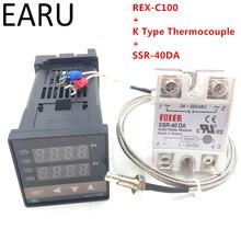 Rkc 디지털 pid 온도 컨트롤러 서모 스탯 REX C100 + max 40a ssr SSR 40DA 릴레이 + k 열전쌍 m6 프로브 고품질