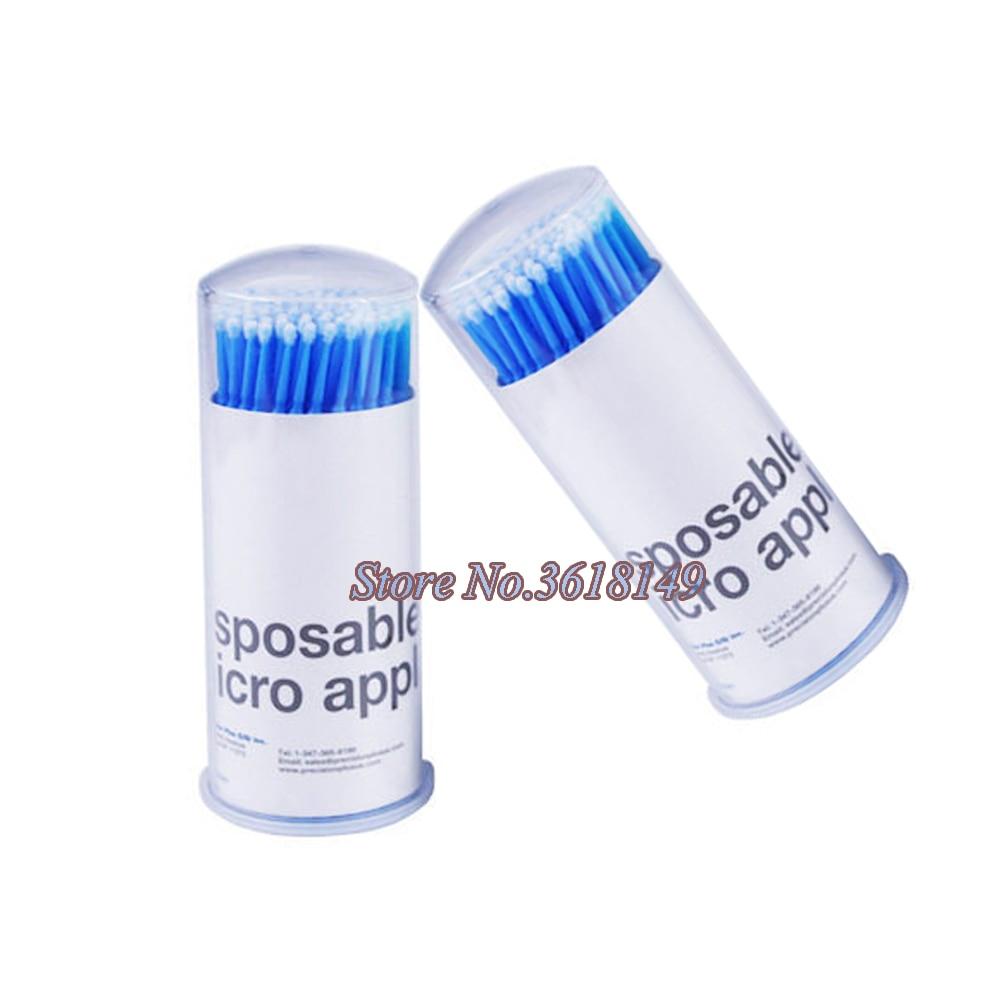 100Pcs Disposable Micro Applicators Mascara Brushes Blue Mini Swab For Eyelashes Extensions Eyelash Glue Cleaning Stick Regular