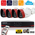 Sunchan 4CH sistema de vigilância de vídeo 1080 P 720 P AHD Outdoor CCTV DVR Kit 4 * 1500TVL 1.3MP 960 P CCTV sistema de segurança ao ar livre sistema de segurança cameras de segurança kit