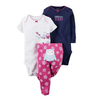 2017 New Spring Autumn Infant Girls Boys 3pcs Cartoon Cotton Rompers And Pants Trousers Set Newborn