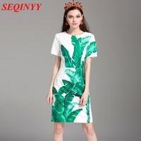 Fashion Brief Dress 2016 Summer New Runway Flower Print Short Sleeve Knee Length Woman Dress