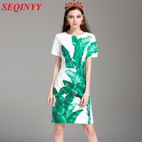 Fashion Brief Dress 2016 Summer New Runway Flower Print Short Sleeve Knee Length Woman Dress