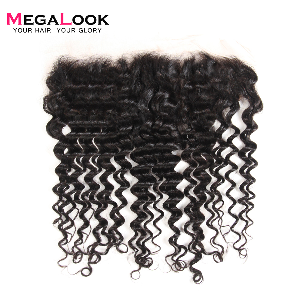 Megalook Human-Hair Frontal Deep-Wave Brazilian with 10-22-Inch Preplucked 100%Remy