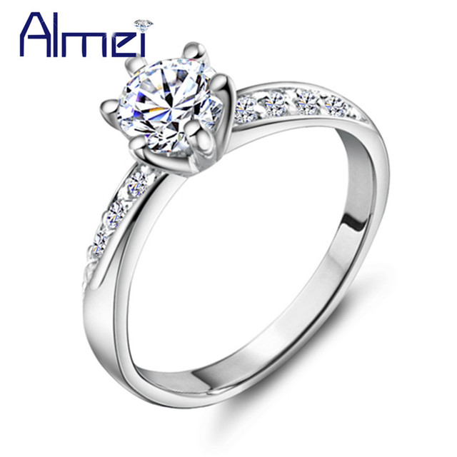 Almei 15%Off Fashion White Crystal Silver Color Rings For Women Wedding Bridal Cubic Zircon Charm Cheap Ring Jewelry J048