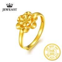 24 K anel de Ouro flor das mulheres do sexo feminino mãe esposa senhora menina 2017new venda quente belas jóias na moda bom agradável top upscale puro real 999