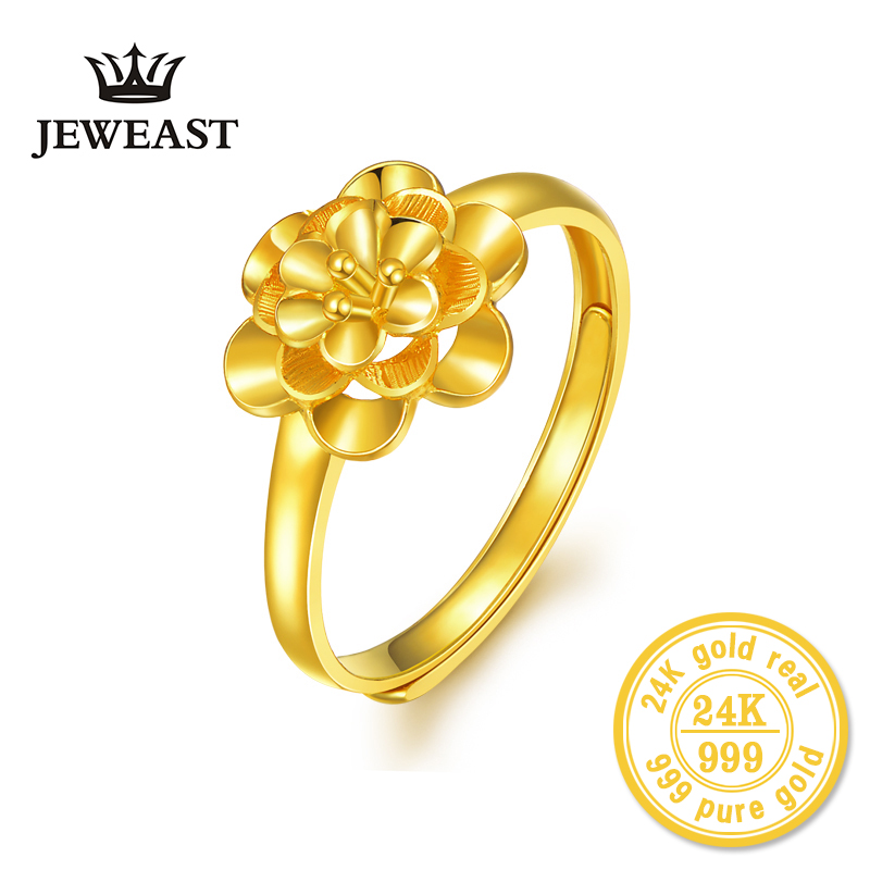 24K Gold ring flower female women mother wife lady girl 2017new hot sale fine jewelry trendy good nice top upscale real pure 999 new pure au750 rose gold love ring lucky cute letter ring 1 13 1 23g hot sale