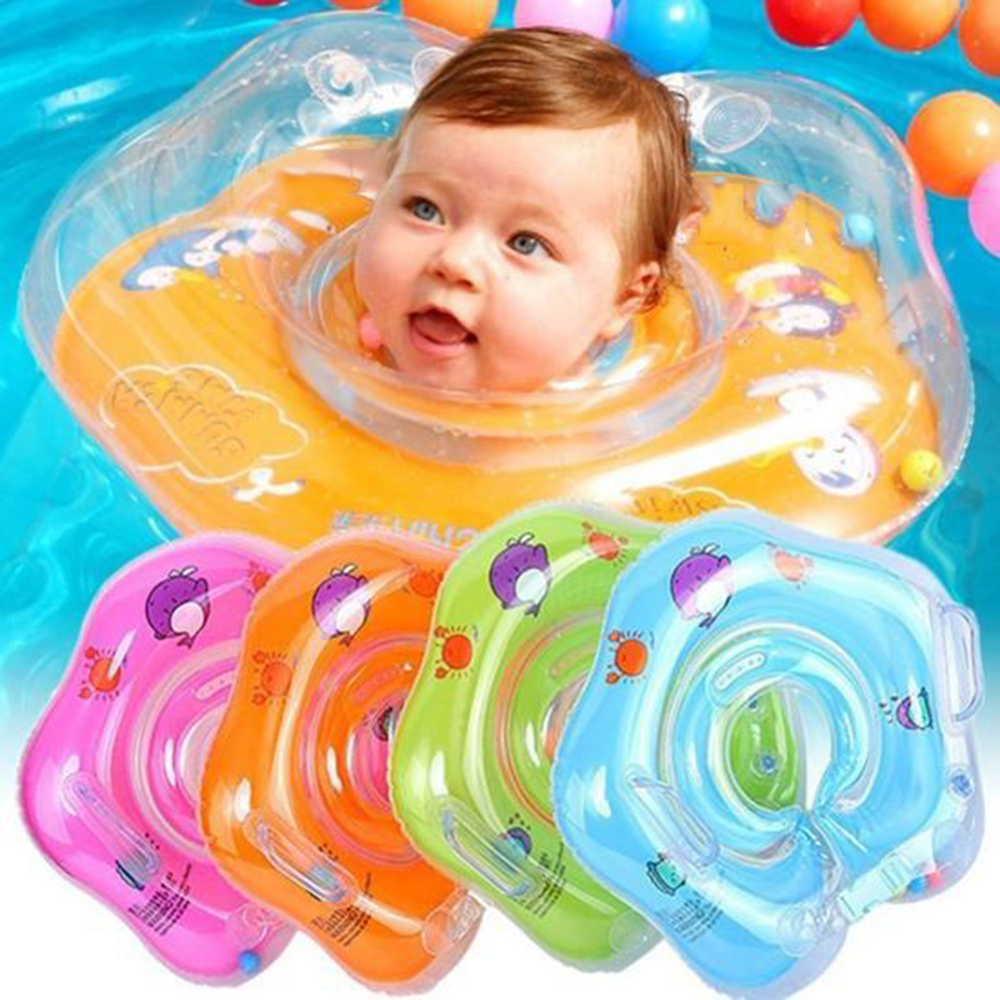 Baby Inflatable Ring Baby Pools Accessories Baby Neck Inflatable Wheels For Infant Cute Cartoon Bathing Circle Safety Neck Float