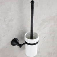 Antique Bronze Brushed Toilet Brush Holder with Ceramic Cups Black Toilet Brush Set Wall Mounted Bathroom Accessories BA