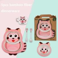 Baby Cute carton dinnerware set raccoon kids bamboo fiber plate set baby feeding set