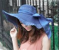 Boheimia Women's Wide Large Brim Foldable Summer Bow Floppy Hat Straw Beach Cap Free shipping (15509002)