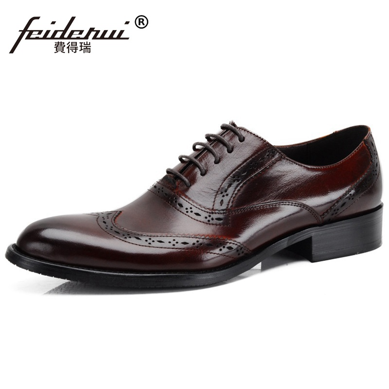 Luxury Brand Man Wing Tip Carved Brogue Shoes Genuine Leather Dress Oxfords Pointed Toe Men's Wedding Flats For Bridal NC11 ruimosi british style brand man formal dress shoes vintage genuine leather brogue oxfords pointed toe men s wing tip flats ce38