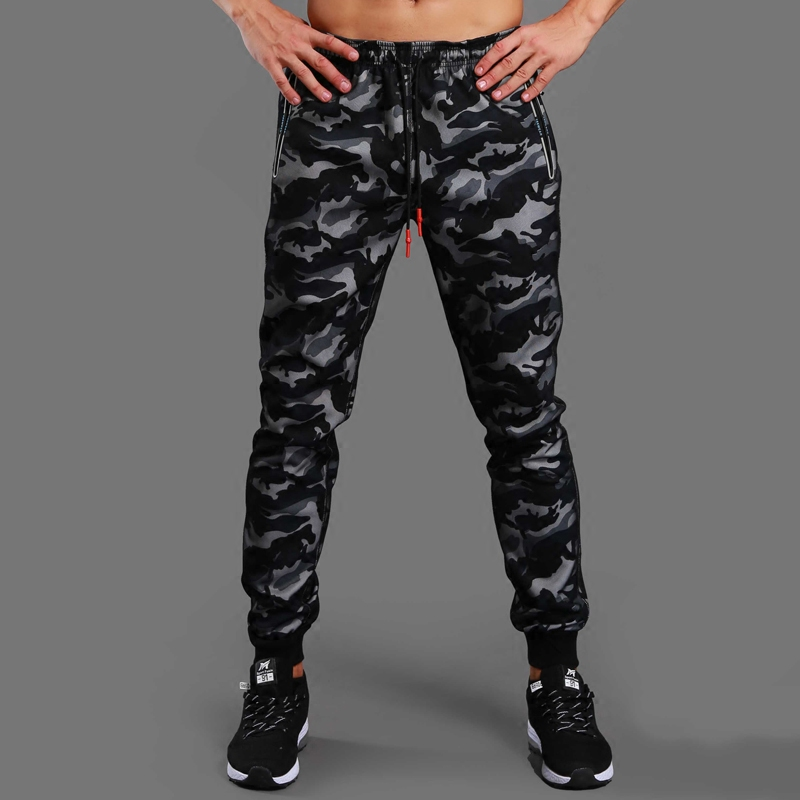 2018 New Winter Camouflage Running Pants Men Skinny Sports Basketball Leggings Trousers Zipper Pockets Gym Fitness Jogging Pants alfani new olive pull on zipper pants 14 $69 5 dbfl