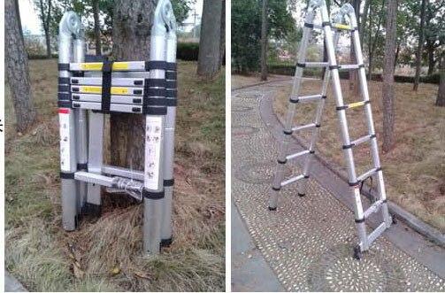 1PC 1.9M + 1.9M Alluminum telescopische ladder met - Bouwgereedschap - Foto 3
