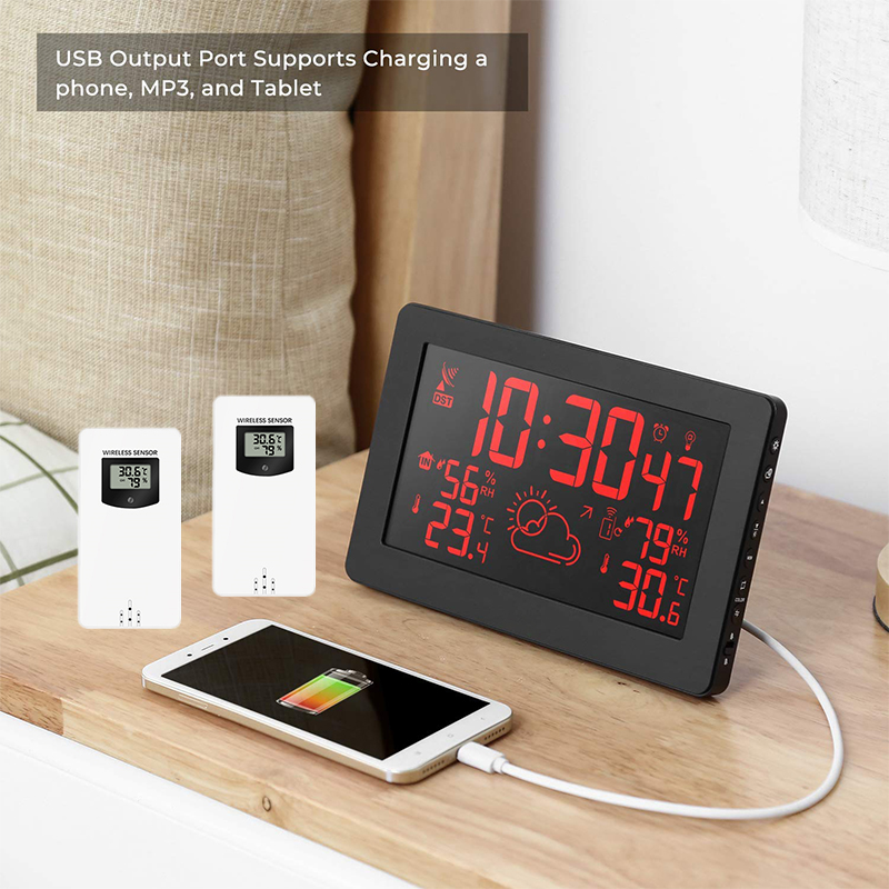2 Outdoor Sensor 8 Colors Screen Display Wireless Weather Station Temperature Humidity Weather Forecast RCC Snooze