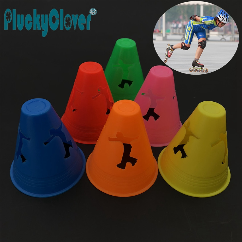 10pcs 8x8cm PE Luminous Plastic Colorful Roller Skating Marking Cup Kids Adults Anti-compression Inline Roller Skates Pile Cups