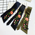 [DRESSUUP]Spring New Embroidery Rose Sticker Scarf Thickened Satin Necklace Scarf  Elegant Large Silk Scarf Fashion Ladies
