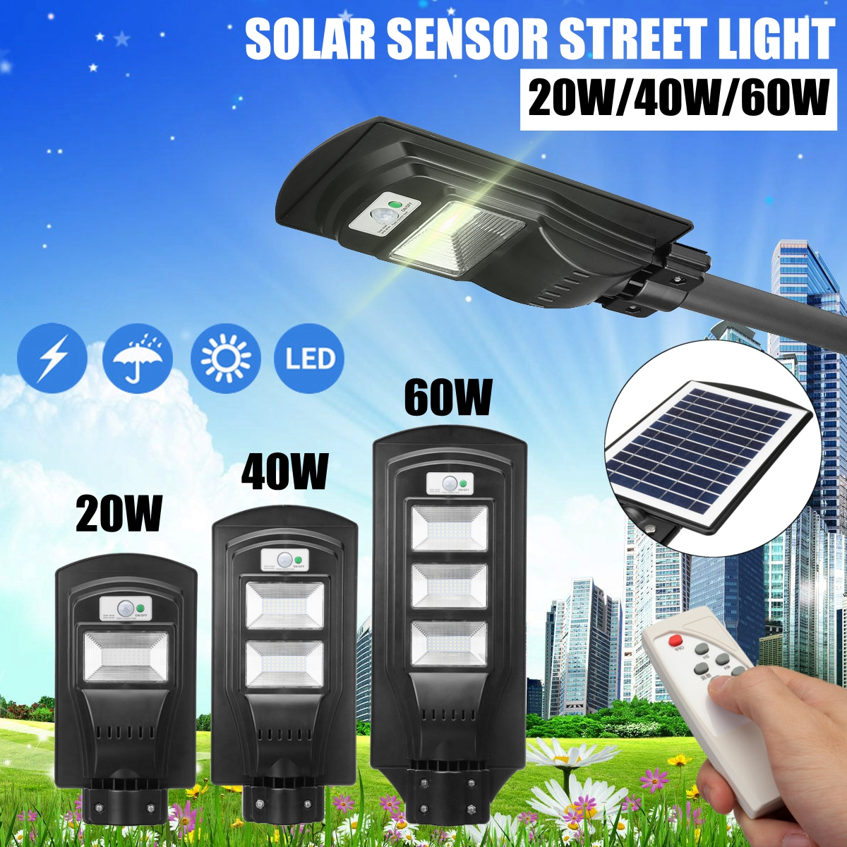 20/40/60W Outdoor LED Constantly Bright & Induction Solar Sensor Light Remote Control Wall Lamp Street Garden Pathway Light20/40/60W Outdoor LED Constantly Bright & Induction Solar Sensor Light Remote Control Wall Lamp Street Garden Pathway Light