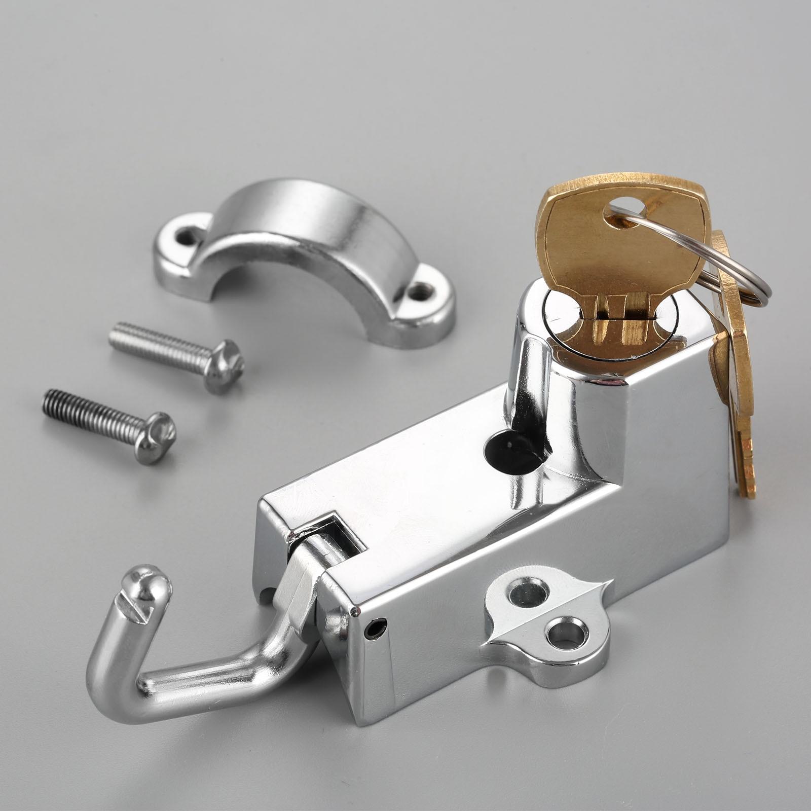 Motorcycle Helmet Lock With 2 Keys For Chrome Black 22mm 7/8
