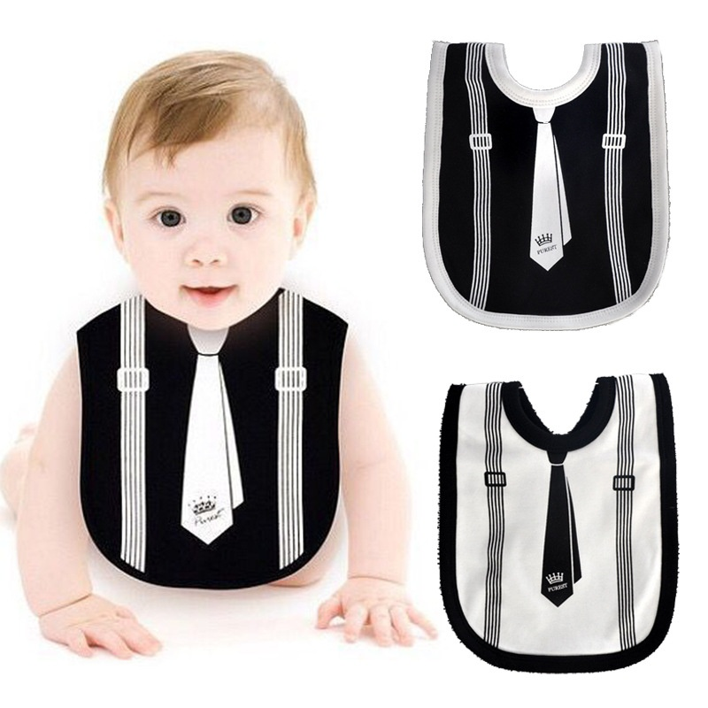 Gentleman Baby Bibs Cotton Burp Cloths Black White babador Slabber