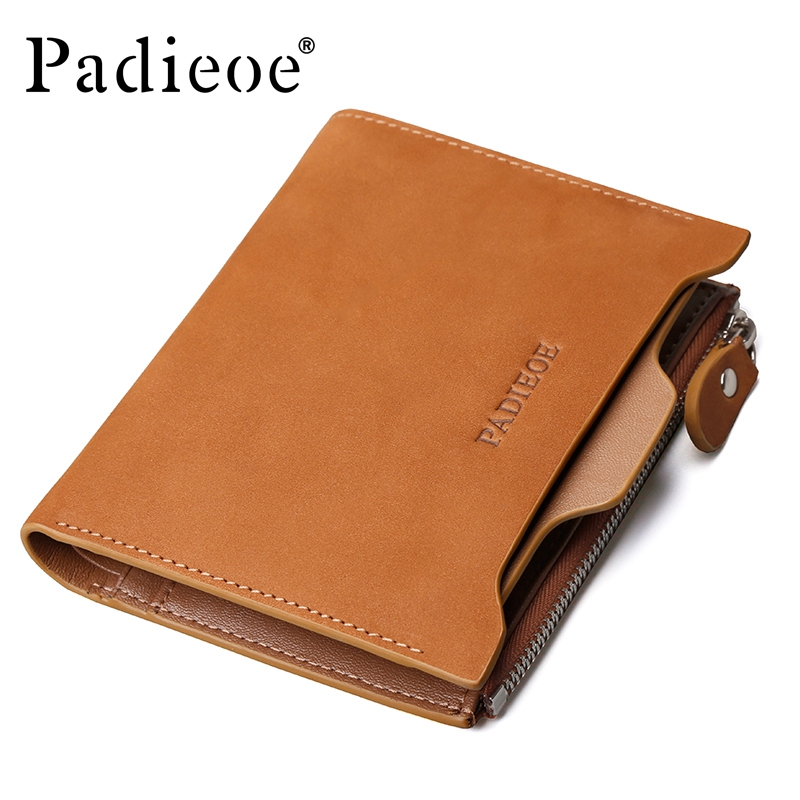 Padieoe Vintage Men Wallets Genuine Leather Short Casual Brand Wallet Cow Leather Zipper Purse Card Holder