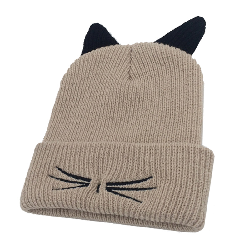 Fashion Women Lady Knitting Cap Devil Horns Cat Ear Crochet Hat Braided Winter Keep Warm Beanie Girl Casual Knitted Caps New