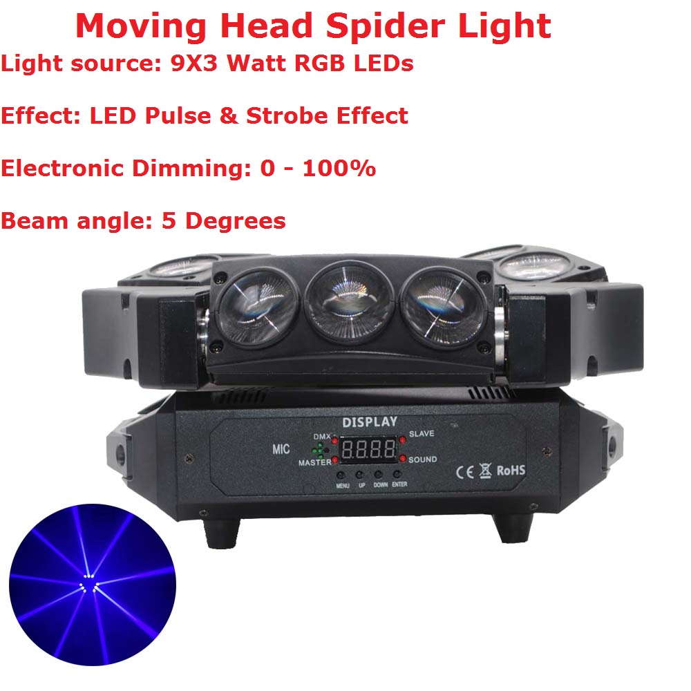 Hot Sale! 1Pcs Moving Head Light Mini LED Spider 9X3W RGB Full Color Beam Lights With 12/43 DMX Channel Fast Shipping 9 moving head laser spider light green color 50mw 9 triangle spider moving head light laser dj light disco club event