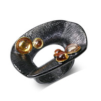Specially Fashion Vintage Women Big Rings Black Gun Color Plated Bohemia Style For Lover Brass Metal