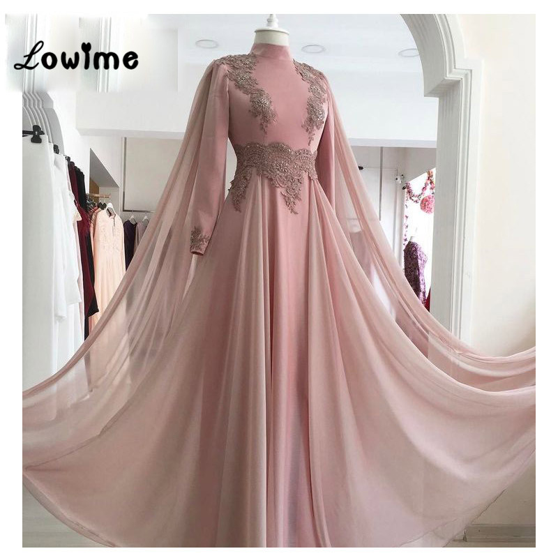 Pink Applique Evening Gown Formal Muslim Evening Dresses Chiffon ...