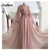 Pink Applique Evening Gown Formal Muslim Evening Dresses Chiffon Arabic Party Dress High Neck Robe De Soiree Longue 2018