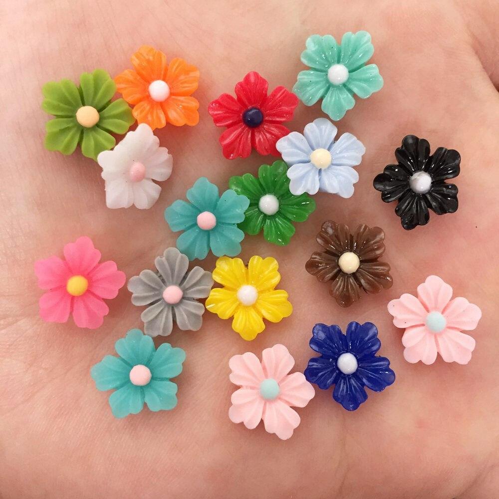 Новый микс 50 шт. Смола 12 мм Прекрасный мини красочный цветок с плоской задней поверхностью камень аппликации DIY свадебный скрапбук ремесло F577