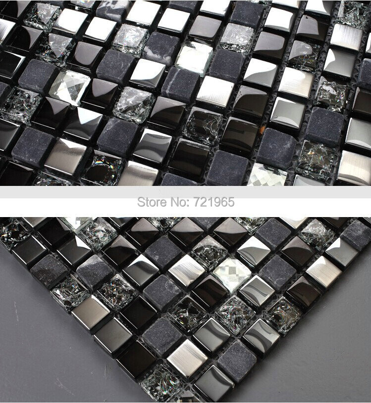 Amazing Black Silver Glass Mosaic Kitchen Wall Tiles Backsplash SGMT165 Grey Stone  Mosaic Bathroom Tiles Glass Diamond Mosaics On Aliexpress.com | Alibaba  Group Part 31