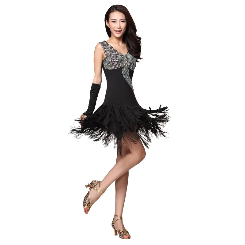 370836e29a7 Adultos Latino concurso de baile vestuario (vestido con flecos + 2 *  Guantes) 3 unids/traje borla rhinestone Latino danza en Latina de La  novedad y de uso ...