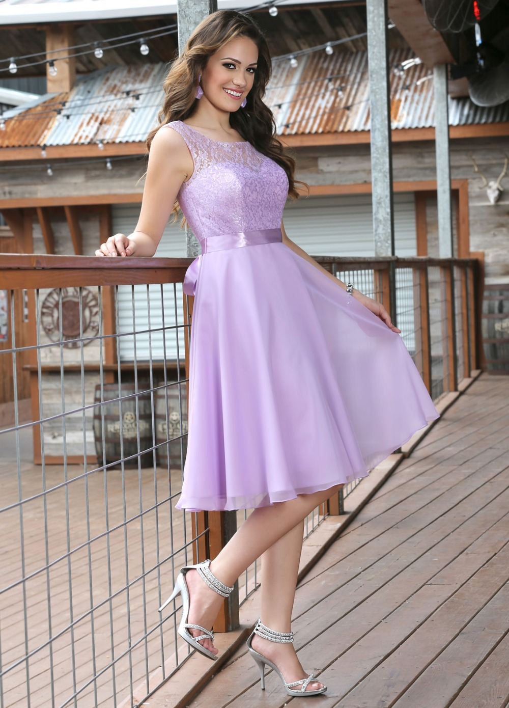 Short Lace Chiffon Civil Lilac Bridesmaids Dresses Sleeveless Knee ...