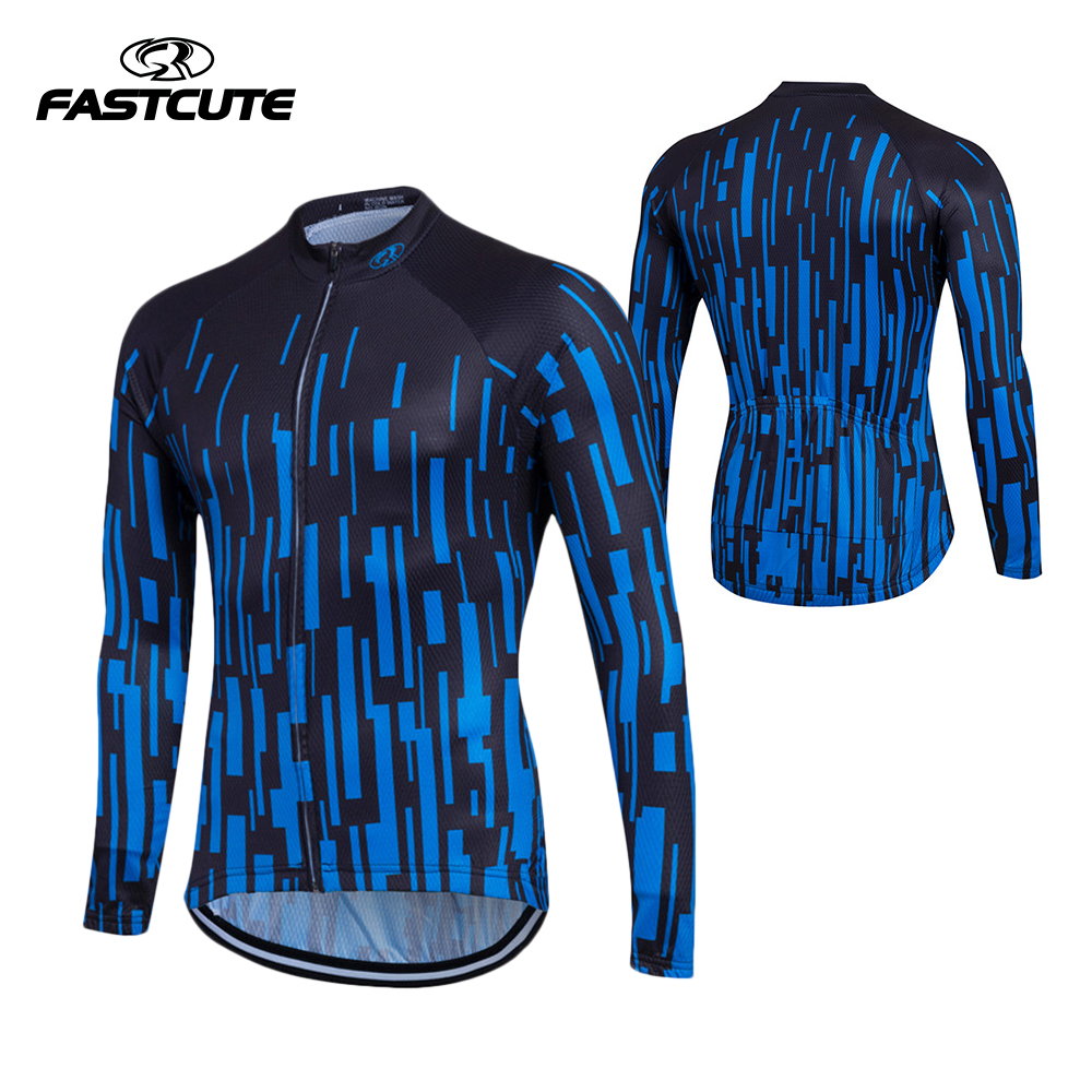 FASTCUTE 100% Polyester Mens Cycling Jersey Long Sleeve Ropa Ciclismo Bicycle Clothing Quick Dry Riding Clothes